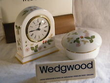 """Wedgwood """" Wild Strawberry """" Large Dome Clock & Matching Candy Dish, Superb !!!"""