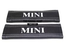 """2x pastillas de cubiertas de cinturón de seguridad de cuero negro """"Mini"""" Bordado Blanco Para Mini Cooper"""
