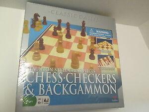 Chess, Checkers, & Backgammon Classic Games, Staunton Style Chess Pieces, NIB