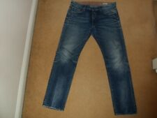 REPLAY ITALY LENRICK REGULAR SLIM FIT FADED DISTRESSED BLUE DENIM JEANS 34 USED