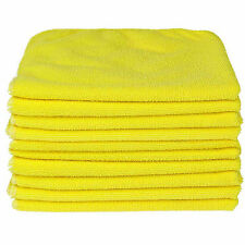 10x Yellow Car Cleaning Detailing Microfiber Soft Polish Cloths Towels Lint
