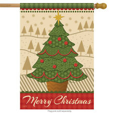 """Merry Christmas Tree House Flag Holiday Star Decorative Banner  28"""" x 40"""""""