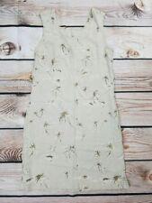 Columbia Womens Small Khaki Palm Tree Sleeveless Shift Silk Blend Dress