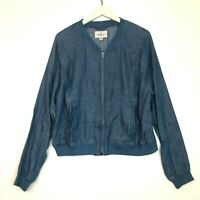 American eagle chambray denim zip up jacket blue size large l
