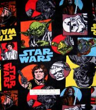 "Anti-Pill Fleece Fabric - Star Wars Logo & Character Patch Black 58/59"" x YARD"