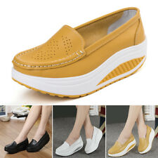 Women High Platform Shoes Shape Ups Toning Fitness Sport Sneakers Slip On Comfy