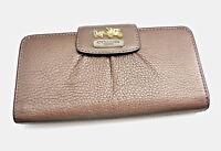 COACH Womens Wallet Leather Metallic Bronze Madison Slim Envelope Lavender 41975
