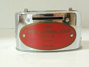 """Vintage Banthrico Oval Bank """"The First National Bank of Oley"""" Metal Coin Bank"""