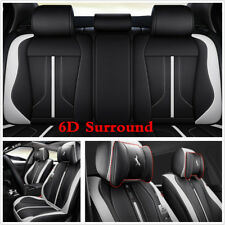 6D Luxury Leather Car Seat Cover Surround Seat Cushion Black White Accessories