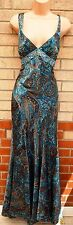 DAVE & JOHNNY LAURA RYNER PAISLEY BROWN TURQUOISE BEADED SATIN LONG MAXI DRESS S
