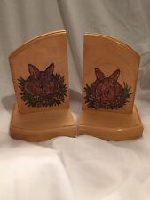 Pyrograved and painted book ends