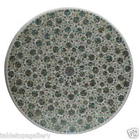 """24"""" Marble Top Coffee Table Paua Shell Floral Fine Inlay Art Garden Decors H405"""