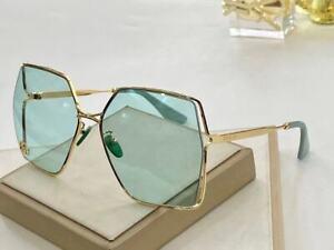 Gucci GG0817s blue Gold Metal Square Sunglasses