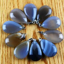 Wholesale 10pcs Charming Grey Agate Teardrop Pendant Bead HDSD10