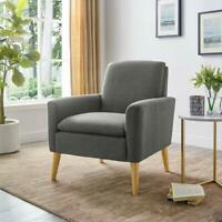 Modern Accent Arm Chair Wood Single Sofa Sponge Cushion Living Room Furniture