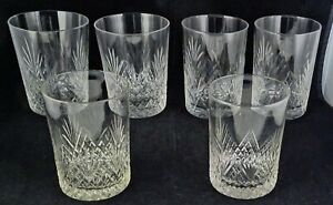6 Various Vintage Crystal Cut Glass Tumblers Strawberry Diamond Fan