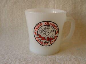Fire-King Reddy Kilowatt CIPS SAFETY CLUB Milk Glass Advertising Coffee Mug