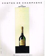 Publicité Advertising 1987 Comtes de Champagne par taittinger