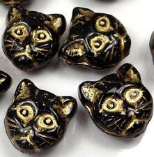 12mm Czech Glass Beads Cat Faces Beads Jet - Gold Inlay (8)