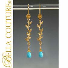 $499 RARE BC® TURQUOISE PERSIAN HUE 24K 18K GOLD EARRINGS V DANGLE CHANDELIER NR