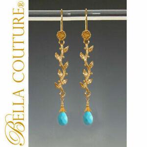 $495 NEW BC® TURQUOISE PERSIAN HUE 24K 18K GOLD EARRINGS V DANGLE CHANDELIER NR