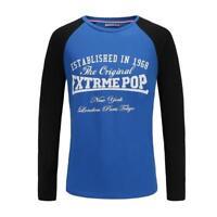 Long Sleeve T shirt for Men RRP £25 Summer Cotton Print Crew Neck Top UK Stock