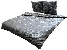 Winter Bettwäsche 200x200 Thermo Fleece grau weiß Sterne Galaxy kuschel Flausch