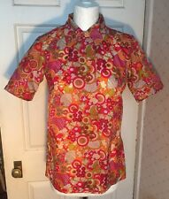 Vintage Retro Handmade Psychedelic Nylon Ladies Shirt Blouse 1960s