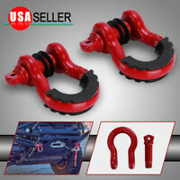 2PCS Shackles 3/4In D Ring Shackle 4.75 Ton With Black Isolators For Tow Strap