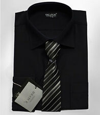 Men's Boys Formal Shirts With Tie Page Boy Wedding Smart Shirt Black 13-14 Years