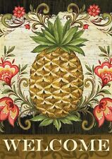 Pineapple & Scrolls Tropical Welcome Toland Sm Garden Flag double-sided text