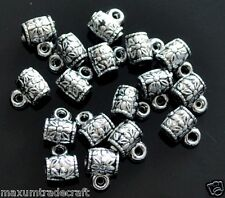 40 Tibet silver style Acrylique Cylindre Charme Perles 8mm