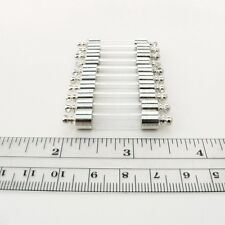 10 Vial Pendants Straight Tubes w/ screw caps  (glass/ bottles/ vials/ mini)