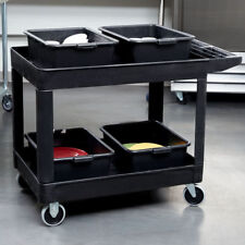 """Rubbermaid FG452089BLA Black 500 lb. Two Shelf Utility Cart - 45 1/4"""" x 25 7/8"""""""