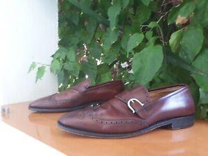 Salvatore Ferragamo Tramezza Men's Burgundy Leather Wingtip Loafers Size 11 D