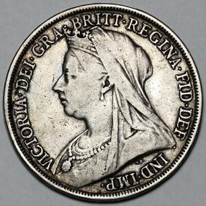 1893 QUEEN VICTORIA GREAT BRITAIN SILVER CROWN COIN