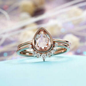 1.50 Ct Pear-Cut Morganite Wedding Engagement Bridal Ring 14K Rose Gold Over