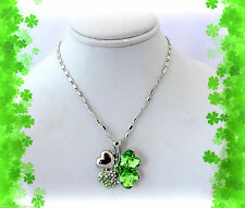 BUY 1 GET 1 50% OFF~IRISH SHAMROCK CHARM FOUR 4 LEAF CLOVER SILVER GIFT NECKLACE