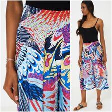 Bright Patterned Palazzo Pants Trousers Culottes Wide Leg Elasticated Yoga UK 10