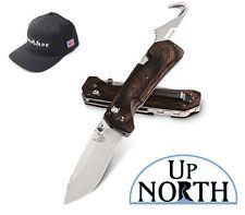 BENCHMADE HUNT 15060-2 Grizzly Creek Folding Knife Wood w/Hook FREE HAT