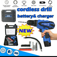 3/8 CORDLESS COMBI DRILL DRIVER ELECTRIC BATTERY POWER SCREWDRIVER WITH BITS SET