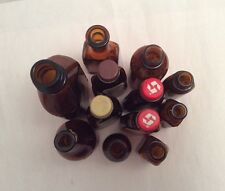 Lot of 12 Antique Vintage Amber Glass Medical Apothecary Bottles