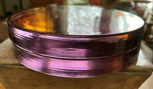 "5"" Round Amethyst Glass Candle Plate Disk Holder White Barn Candle Handmade Gem"
