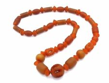"STUNNING Vintage 1920s ART DECO 16"" Carved GENUINE AMBER Beaded Necklace"