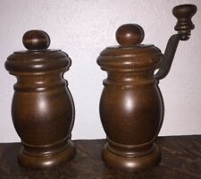 Vintage Olde Thompson Wood Pepper Mill Grinder & Salt Shaker Light Wood