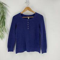 L.L Bean Womens Thermal Shirt Size Medium M Blue Henley Knit Top Long Sleeve