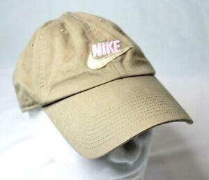 NIKE Cap Hat Tan Beige Khaki PINK Spell Out Swish Logo Adjustable Strapback