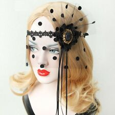 Black Cosplay Lady Masquerade Ball Party Lace Veil Mask with Black Lace Flower