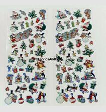 82 CHRISTMAS FRIENDS STICKERS-HOLOGRAPHIC-SANTA-REINDEER-TREE-PENGUIN-CANE-XMAS