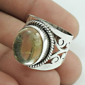 HANDMADE 925 Sterling Silver Jewelry Oval Shape Citrine Gemstone Ring Size 8 A62